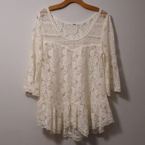 Free People white lace ruffle bellsleeve top
